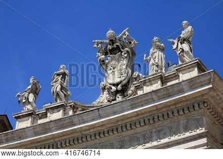 Vatican City Landmark. Saint Statues In The Colonnade Of  Saint Peter's Square (piazza San Pietro) O
