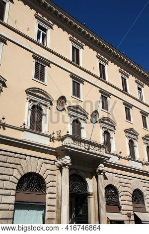 Rome Landmark, Italy. 16th Century Palazzo Severoli, Building Housing Pontifical Ecclesiastical Acad