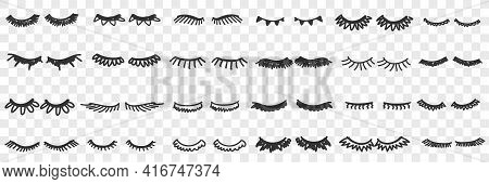 Eyelashes Shapes Assortment Doodle Set. Collection Of Hand Drawn Various Shapes Of Black Coloured Ey
