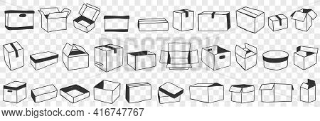 Open And Closed Boxes Doodle Set. Collection Of Hand Drawn Various Shapes Of Open And Closed Parcel