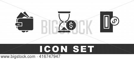 Set Wallet With Money, Hourglass Dollar And Inserting Coin Icon. Vector