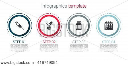 Set Doping Syringe, Medal, Sports Nutrition And Calendar Fitness. Business Infographic Template. Vec