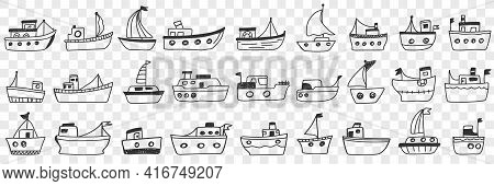 Boats Ships Assortment Doodle Set. Collection Of Hand Drawn Various Styles Of Ships Water Transport