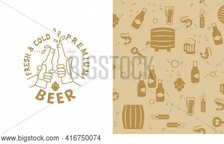 Beer In Hand, People Clink Glasses Of Beer In Bottles. Beer Logo And Seamless Pattern With Beer Icon