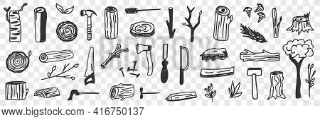 Various Lumberjack Tools Doodle Set. Collection Of Hand Drawn Working Tools For Lumberjack Worker Fo