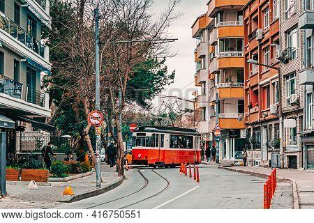 Istanbul, Turkey: March 15, 2018: Kadikoy - Moda Nostalgic Tramway. Old Nostalgic Tram Going Through