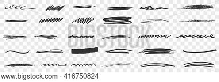 Thick And Thin Scribbles Lines Drawings Doodle Set. Collection Of Hand Drawn Scribbles Of Various Pa