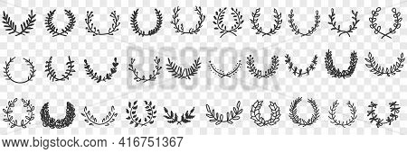 Natural Leaves Ornament And Wreath Doodle Set. Collection Of Hand Drawn Elegant Natural Semicircle P