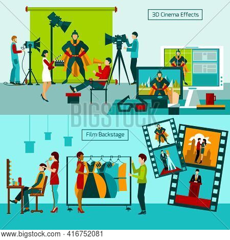 Cinema People Horizontal Banner Set With Film Backstage Elements Isolated Vector Illustration