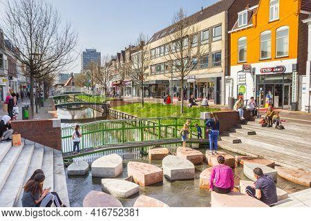 Zaandam, Netherlands - March 31, 2021: People Enjoying The Spring Weather In Zaandam, Netherlands