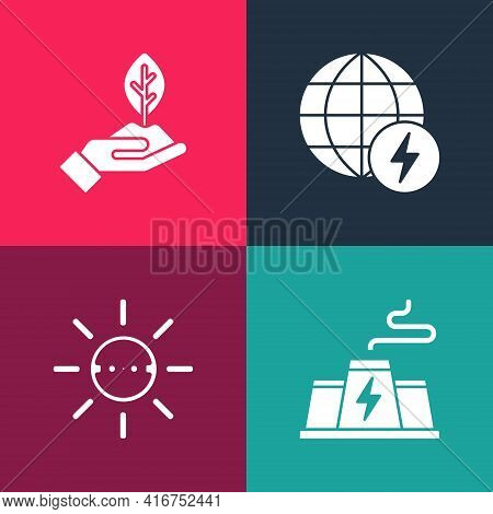 Set Pop Art Power Station Plant Factory, Solar Energy Panel, Global Power Planet And Plant In Hand I