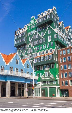 Zaandam, Netherlands - March 31, 2021: Colorful Facade Of The Inntel Hotel In Zaandam, Netherlands