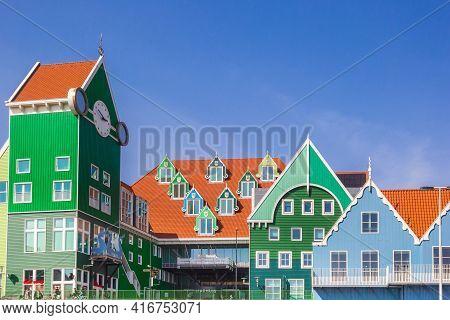 Zaandam, Netherlands - March 31, 2021: Clock Tower And City Hall In Zaandam, Netherlands
