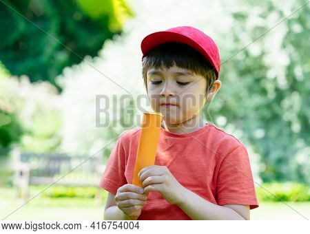 Portrait Kid Eating Ice Lolly With Blurry Nature Background, Happy Little Boy Standing In The Park E