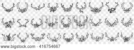 Deers Horns As Decorations Doodle Set. Collection Of Hand Drawn Various Horns Of Wild Deers Animals