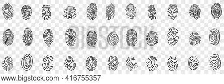 Fingerprints Personal Identity Doodle Set. Collection Of Hand Drawn Various Human Fingerprints For I