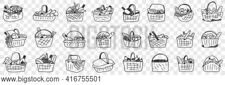 Basket With Food Doodle Set. Collection Of Hand Drawn Various Baskets With Ingredients Food Drinks F