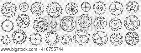 Circle Gears With Patterns Doodle Set. Collection Of Hand Drawn Various Gears Mechanisms With Patter