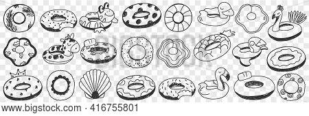Circles For Swimming Doodle Set. Collection Of Hand Drawn Special Circles With Decorations For Relax