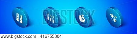 Set Isometric Medical Rubber Gloves, Genetically Modified Apple, Cloning And Reagent Bottle Icon. Ve