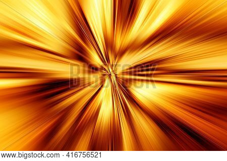 Abstract Surface Of Radial Blur Zoom Brown And Gold Tones. Abstract Golden Background With Radial, D