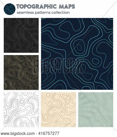 Topographic Maps. Amazing Isoline Patterns, Seamless Design. Appealing Tileable Background. Vector I