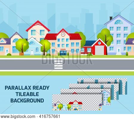 Daylight Residential Area Street View Cityscape With Parallax Effect City Centre On Background Tilea