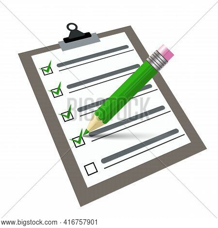 Vector Checklist With Pen Writing On A Clipboard. Signs Contract Document. Green Pen And Green Tick