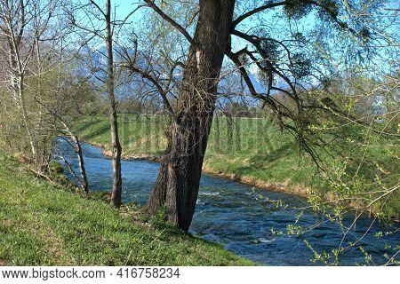 Little River Flows Through The Countryside In Vaduz In Liechtenstein 4.4.2021