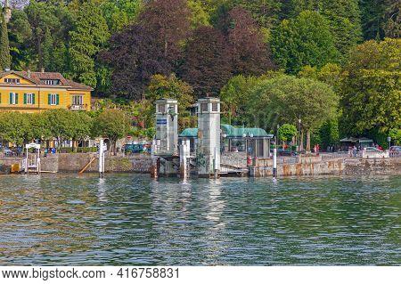 Bellagio, Italy - June 14, 2019: Ferry Boat Dock Ramp Structure In Bellagio, Italy.