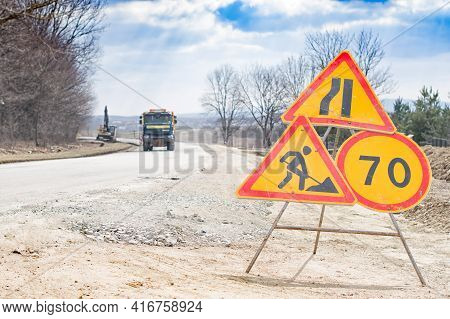 Road Works Sign For Construction. Road Under Construction Traffic Sign. Traffic, Warning Sign Road R