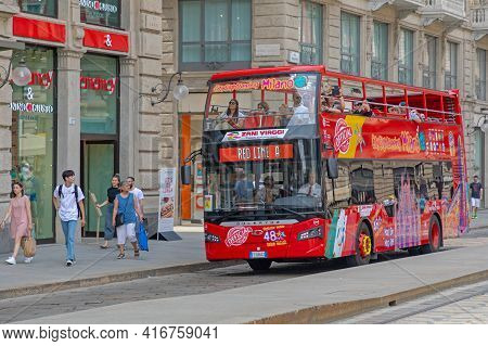 Milan, Italy - June 15, 2019: Red Line Tourists Bus City Sightseeing In Milan, Italy.