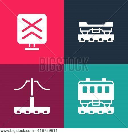 Set Pop Art Passenger Train Cars, Railway, Cargo Wagon And Railroad Crossing Icon. Vector