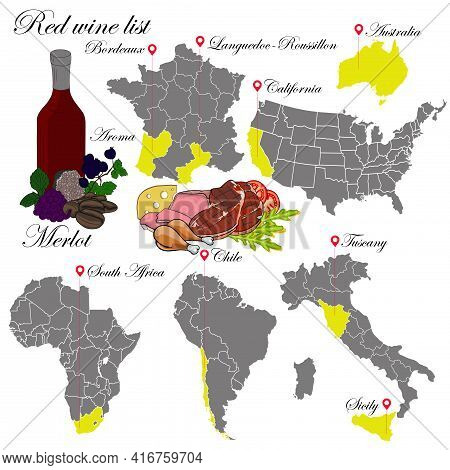 Merlot. The Wine List. An Illustration Of A Red Wine With An Example Of Aromas, A Vineyard Map And F