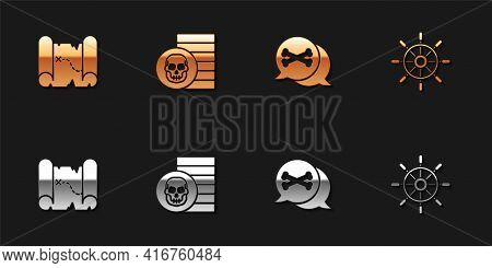 Set Pirate Treasure Map, Coin, Location Pirate And Ship Steering Wheel Icon. Vector