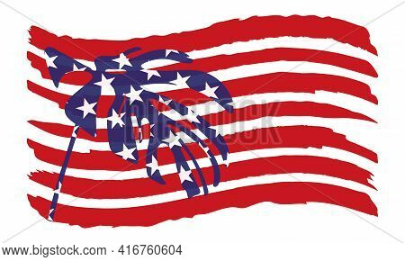 Patriotic Vector Illustration With Tropical Leaf On The Usa Flag
