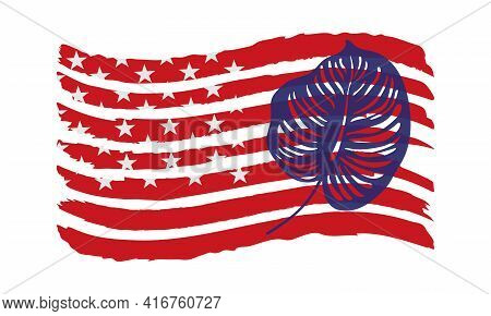 Vector Illustration With Decorative Tropical Leaf On The Usa Flag