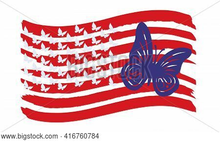 Vector Illustration Of The Usa Flag With Silhouettes Of Butterflies.