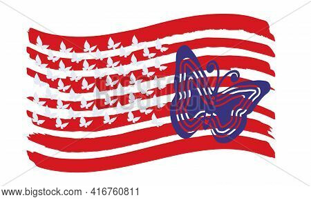 Usa Flag. Silhouettes Of Butterflies On The Red Stripes Of The Usa Flag.