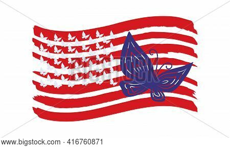 Blue Fishnet Butterfly On Red Stripes Of The Usa Flag