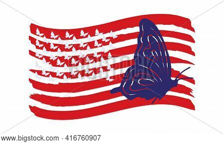 Silhouette Of A Flying Butterfly On The Usa Flag. Vector Illustration