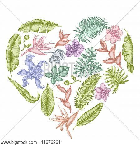 Heart Floral Design With Pastel Monstera, Banana Palm Leaves, Strelitzia, Heliconia, Tropical Palm L