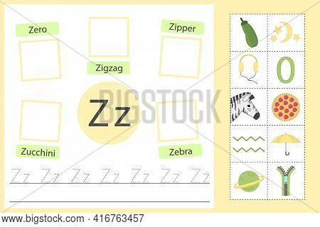 English Alphabet Tracing Worksheet For Preschool And Kindergarten. Writing Practice Letter Z. Exerci