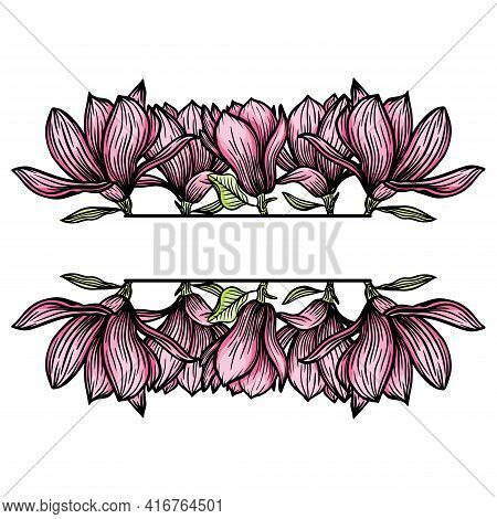 Border, Frame Of Magnolia Flowers, Blooming Flowers Silhouette. Spring, Floral Design For Cards, Inv