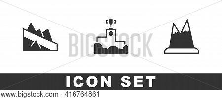 Set Mountain Descent, Award Winner Podium And Mountains Icon. Vector