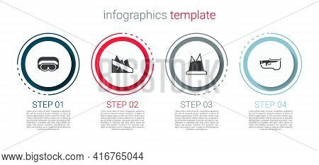 Set Ski Goggles, Mountain Descent, Mountains And Biathlon Rifle. Business Infographic Template. Vect