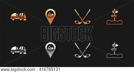 Set Ice Resurfacer, Location With Mountain, Hockey Sticks And Road Traffic Signpost Icon. Vector