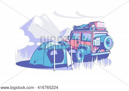 Tourist Camp Tent And Suv Vector Illustration