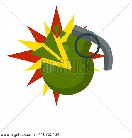 Grenade Explosion. Vector Green Bomb. Weapons And Bombshell. Red Flash. Soldier's Equipment And Ammu