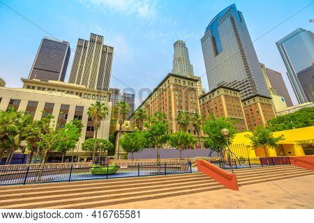 Los Angeles, California, United States - August 9, 2018: Skyscrapers Skyline And Colorful Pershing S